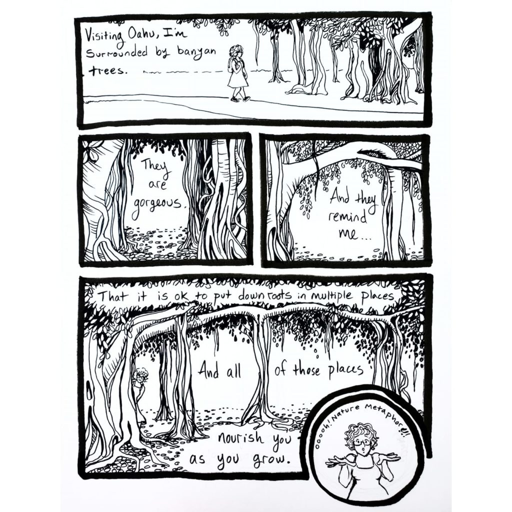 Comic strip about banyan trees having multiple roots