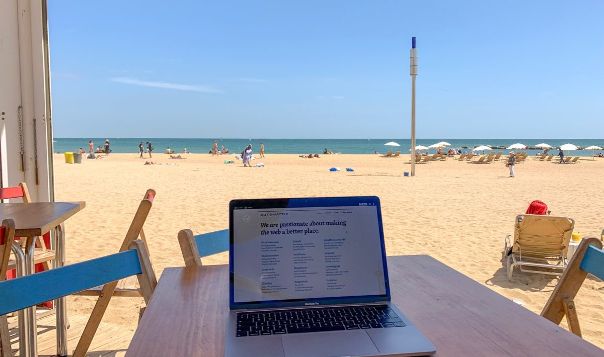 A laptop at the beach