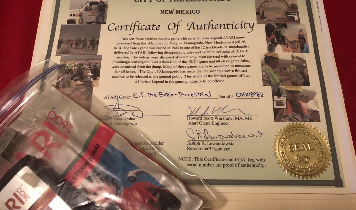 An Alamogordo E.T. cartridge for the Atari 2600 with certificate of authenticity