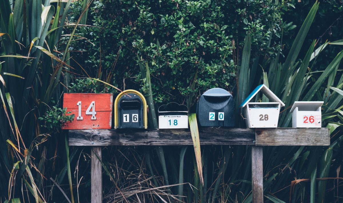 A row of postal mailboxes