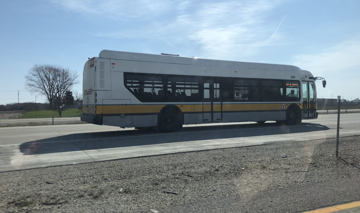 Profile of MBTA bus on highway