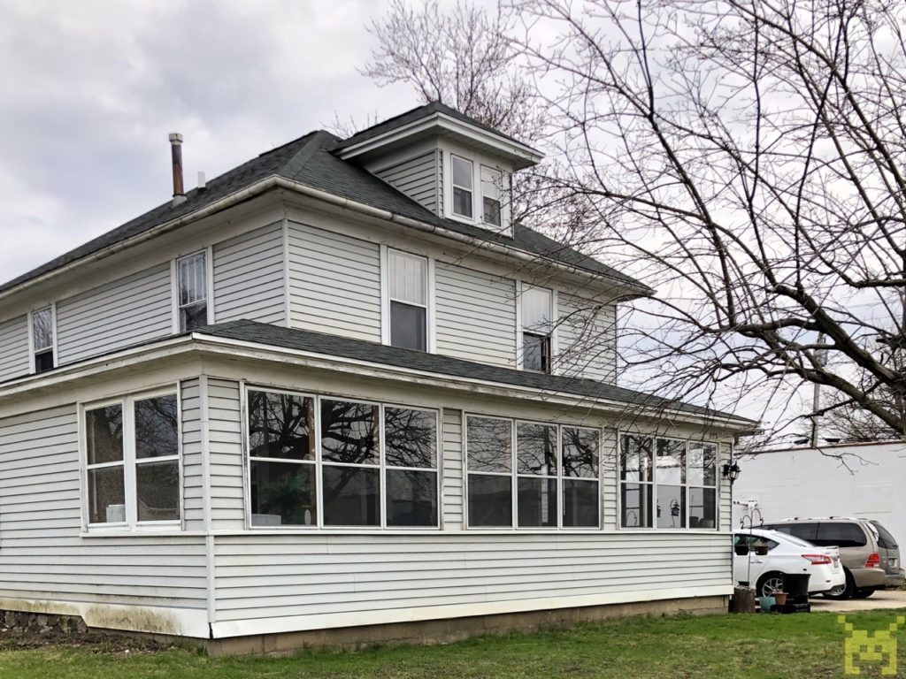 A three-story house