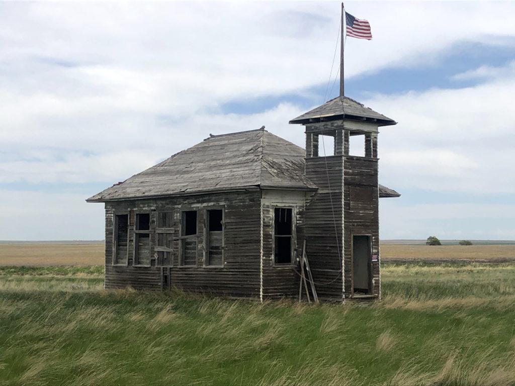 Rickety abandoned schoolhouse