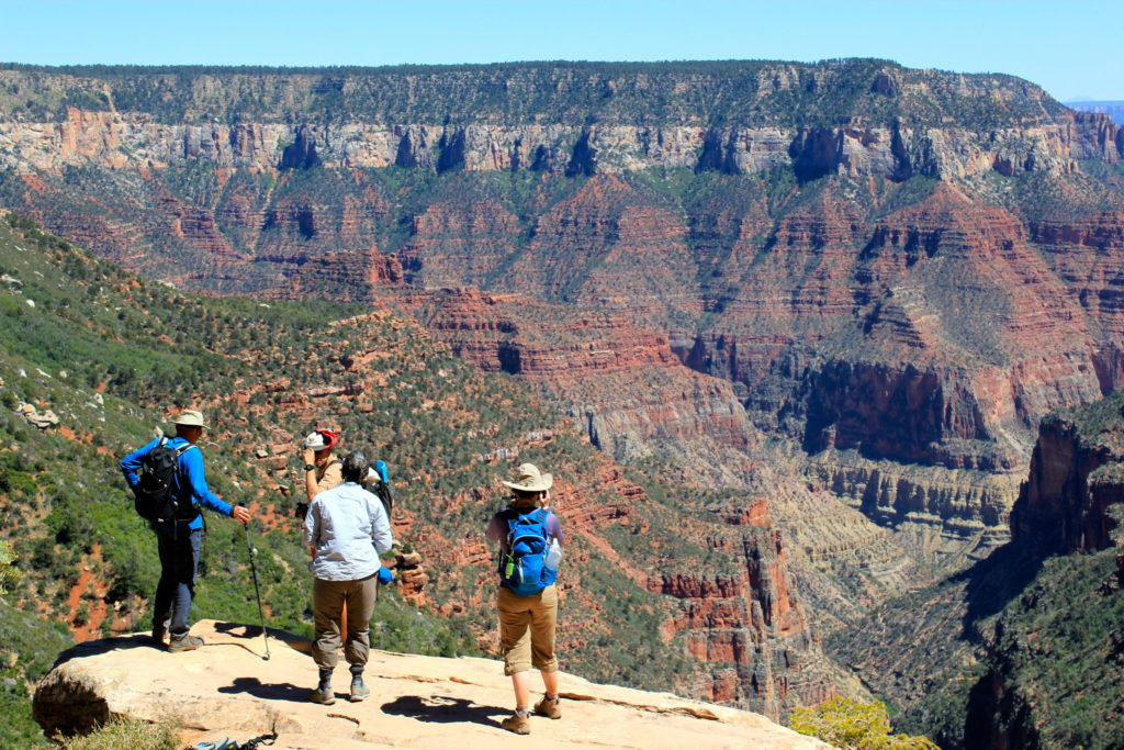 Four hikers on a plateau overlooking the Grand Canyon