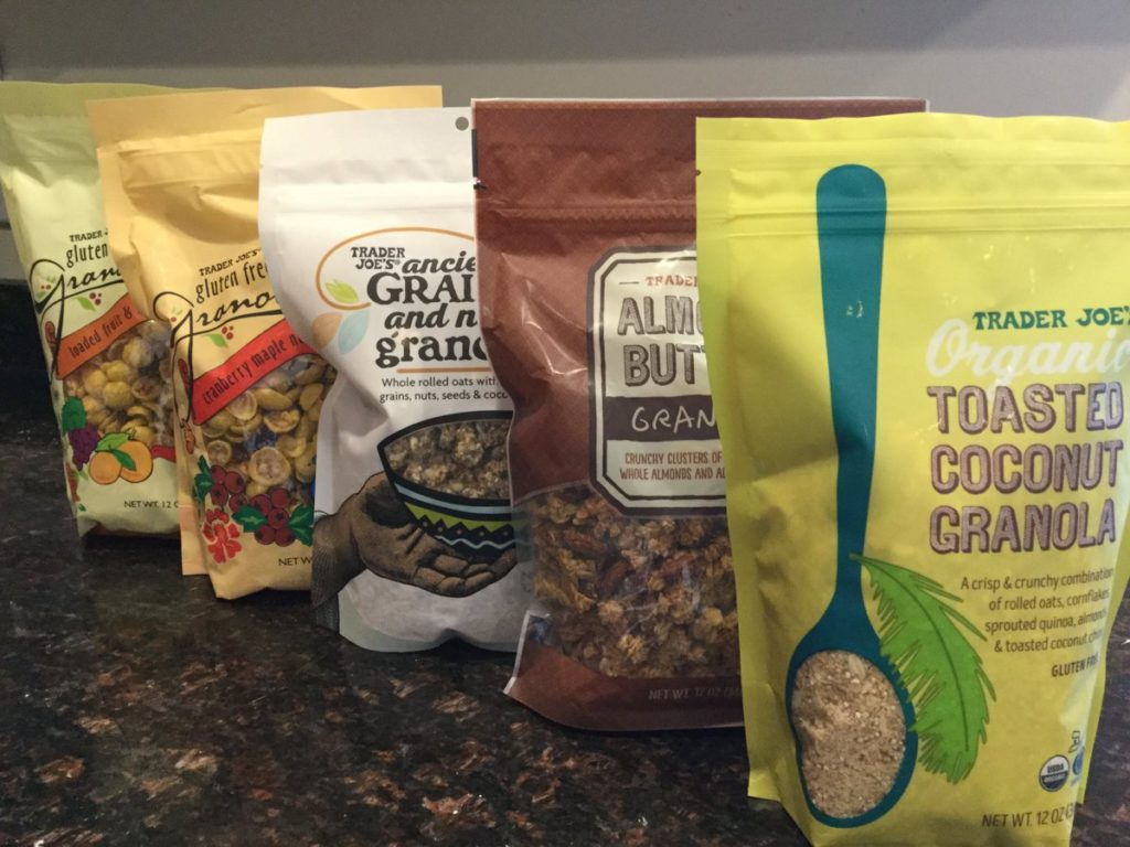 Five bags of different flavors of granola, all from Trader Joe's