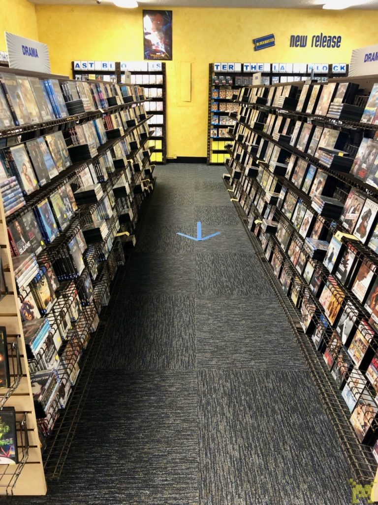 A row of movie shelves
