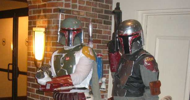 Two bounty hunters from Star Wars