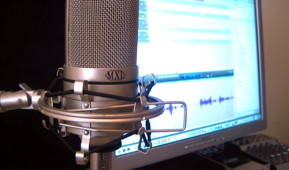 Microphone in front of computer monitor
