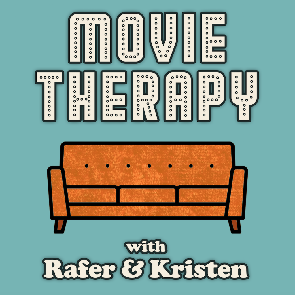 """A couch under marquee words """"Movie Therapy"""""""