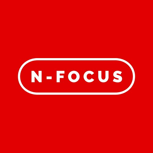 """The words """"N-Focus"""" in white text against a red background, reminiscent of the original Nintendo logo"""