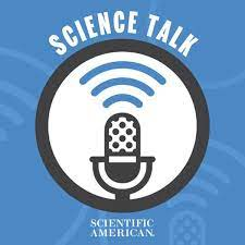 """A microphone icon under the text """"Science Talk"""""""